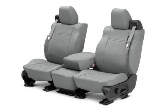 Image may not reflect your exact vehicle! CalTrend® - 1st Row DuraPlus Light Gray Custom Seat Covers