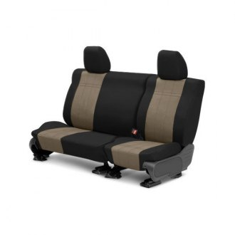 Image may not reflect your exact vehicle! CalTrend® - Rear DuraPlus Black with Beige Custom Seat Covers