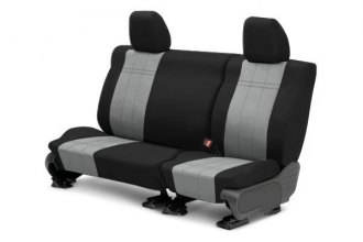 CalTrend® FD348-08DD - Rear Row DuraPlus Black with Light Gray Custom Seat Covers