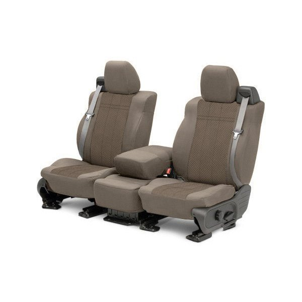 Image may not reflect your exact vehicle! CalTrend® - 1st Row EuroSport Beige Custom Seat Covers