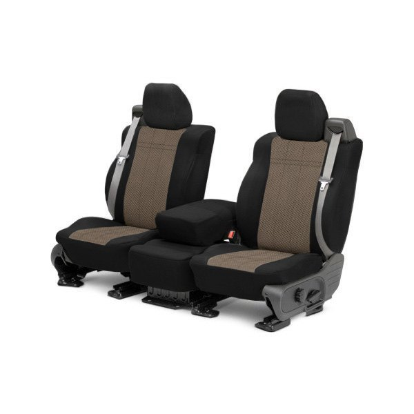 Image may not reflect your exact vehicle! CalTrend® - 1st Row EuroSport Black with Beige Custom Seat Covers