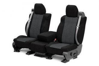 Image may not reflect your exact vehicle! CalTrend® - Front EuroSport Black with Charcoal Custom Seat Covers