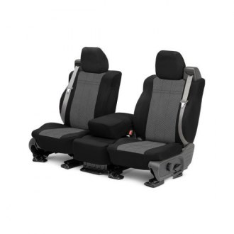 Image may not reflect your exact vehicle! CalTrend® - Front EuroSport Black with Light Gray Custom Seat Covers