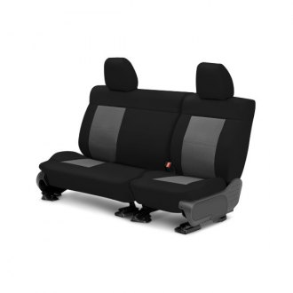 Image may not reflect your exact vehicle! CalTrend® - Center EuroSport Black with Light Gray Custom Seat Covers