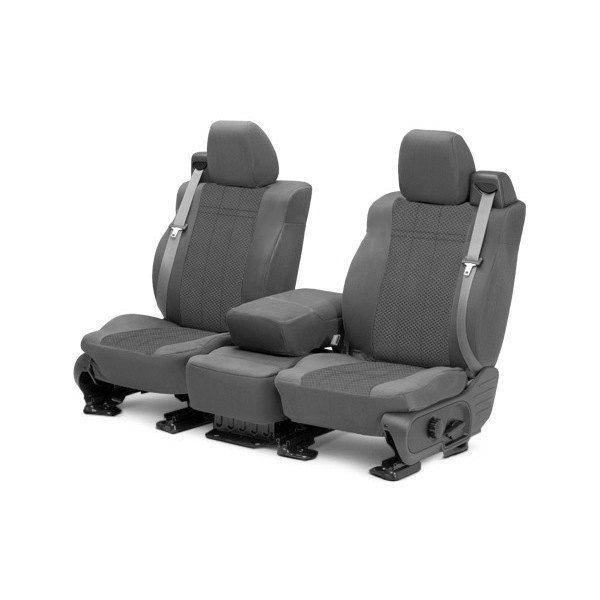 Image may not reflect your exact vehicle! CalTrend® - 1st Row EuroSport Light Gray Custom Seat Covers