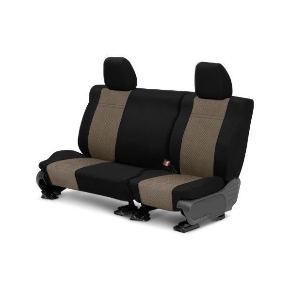 CalTrend® - EuroSport 2nd Row Black & Beige Custom Seat Covers
