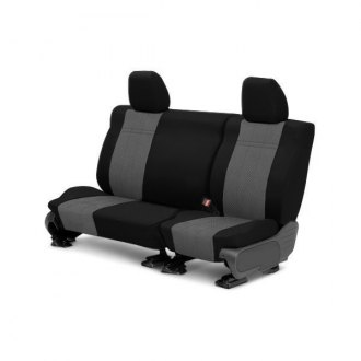 Image may not reflect your exact vehicle! CalTrend® - Rear EuroSport Black with Light Gray Custom Seat Covers