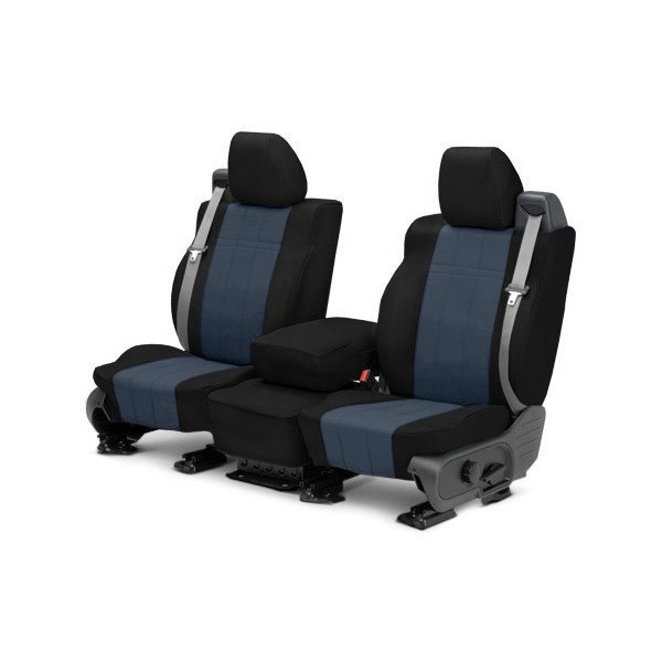 Image may not reflect your exact vehicle! CalTrend® - Front ICBINL Black with Blue Custom Seat Covers