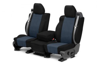 CalTrend® HY142-04LB - Front Row I Can't Believe It's Not Leather Black with Blue Custom Seat Covers