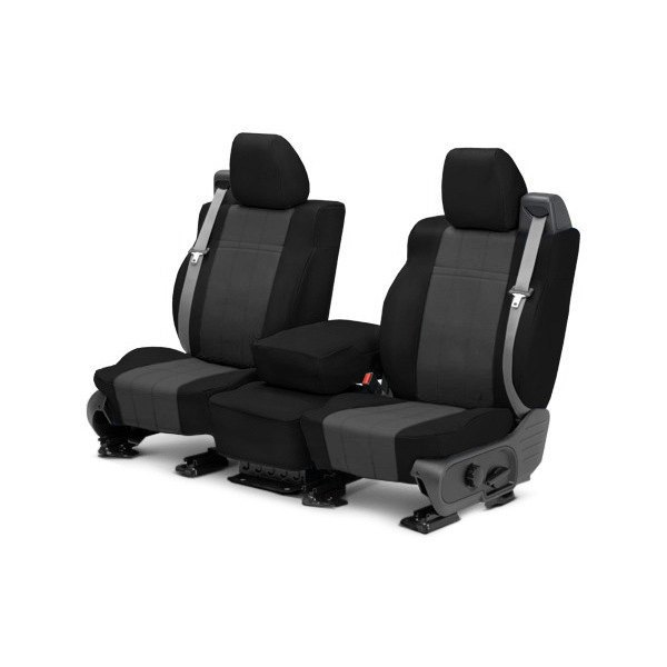 CalTrend® - 1st Row I Can't Believe It's Not Leather™ Black & Dark Gray Custom Seat Covers