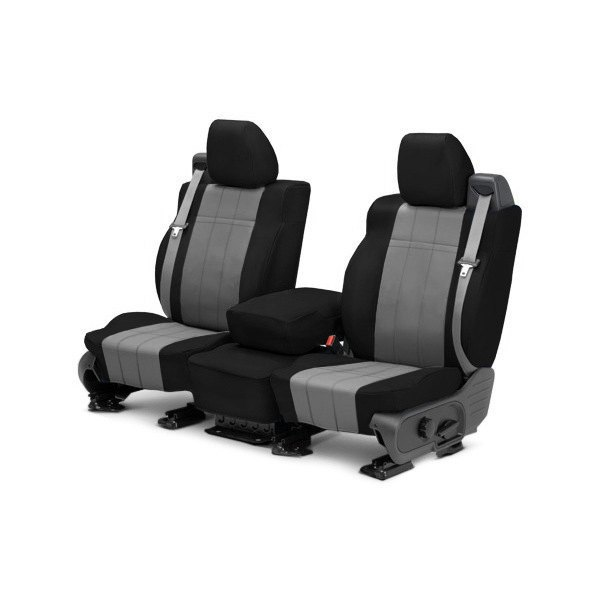 CalTrend® - 1st Row I Can't Believe It's Not Leather Black & Light Gray Custom Seat Covers