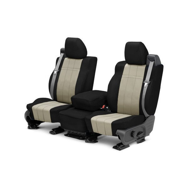 Image may not reflect your exact vehicle! CalTrend® - Front ICBINL Black with Sandstone Custom Seat Covers