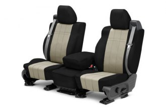 CalTrend® FD261-05LB - Front Row I Can't Believe It's Not Leather Black with Sandstone Custom Seat Covers