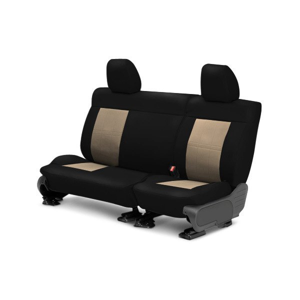 Image may not reflect your exact vehicle! CalTrend® - Center ICBINL Black with Sandstone Custom Seat Covers