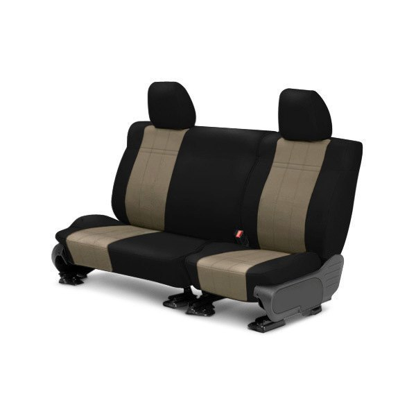 Image may not reflect your exact vehicle! CalTrend® - Rear ICBINL Black with Beige Custom Seat Covers