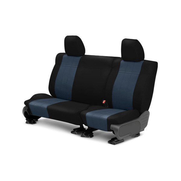 Image may not reflect your exact vehicle! CalTrend® - Rear ICBINL Black with Blue Custom Seat Covers
