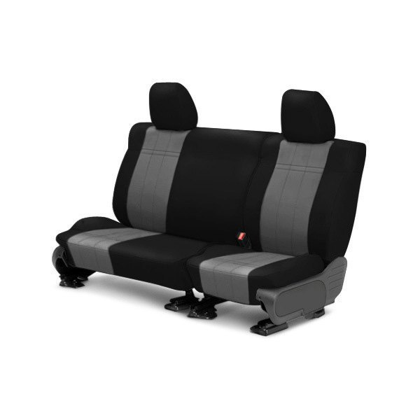 Image may not reflect your exact vehicle! CalTrend® - Rear ICBINL Black with Charcoal Custom Seat Covers
