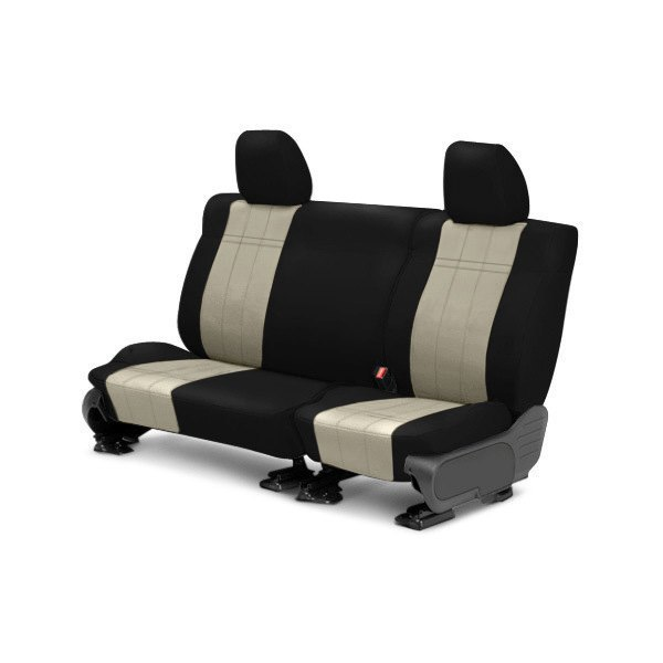 Image may not reflect your exact vehicle! CalTrend® - Rear ICBINL Black with Sandstone Custom Seat Covers