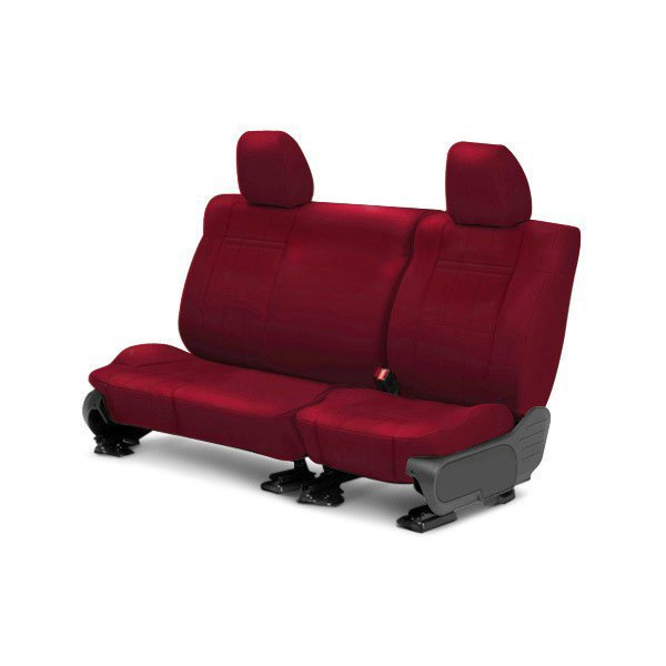 Image may not reflect your exact vehicle! CalTrend® - Rear ICBINL Red Custom Seat Covers