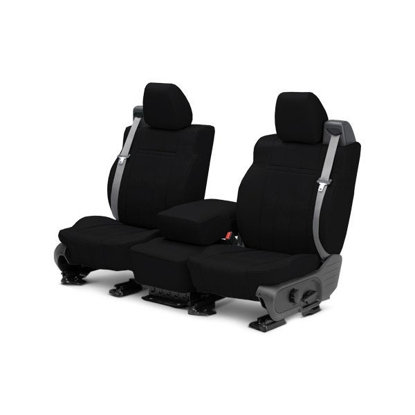 Image may not reflect your exact vehicle! CalTrend® - 1st Row Leather Black Custom Seat Covers