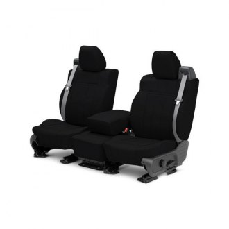 Image may not reflect your exact vehicle! CalTrend® - 1 Row Leather Black Custom Seat Covers