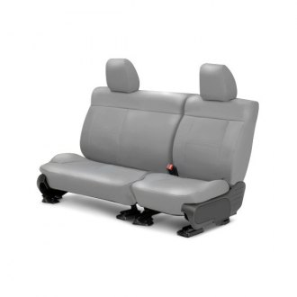 Image may not reflect your exact vehicle! CalTrend® - Center Leather Light Gray Custom Seat Covers