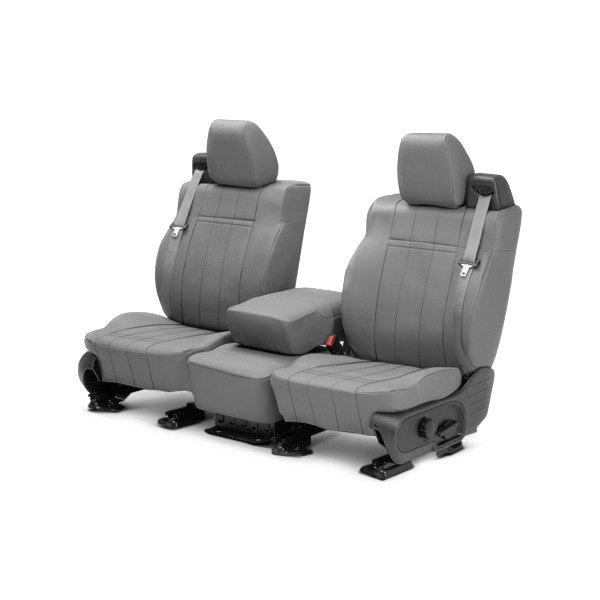 Image may not reflect your exact vehicle! CalTrend® - Front Leather Light Gray Custom Seat Covers