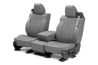 Image may not reflect your exact vehicle! CalTrend® - 1st Row Leather Light Gray Custom Seat Covers