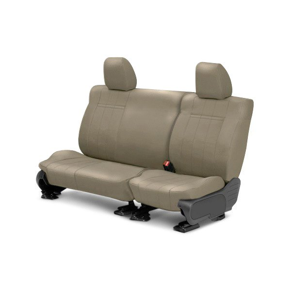Image may not reflect your exact vehicle! CalTrend® - Rear Leather Beige Custom Seat Covers