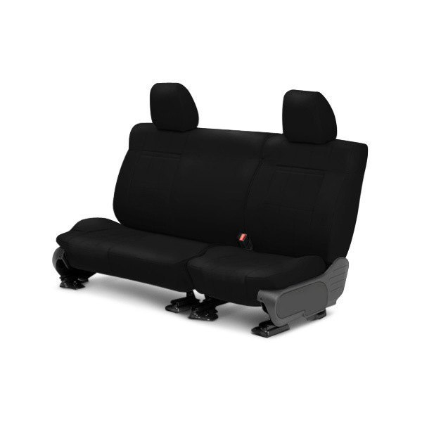 Image may not reflect your exact vehicle! CalTrend® - Rear Leather Black Custom Seat Covers