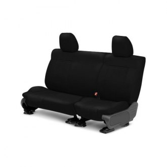 Image may not reflect your exact vehicle! CalTrend® - 2 Row Leather Black Custom Seat Covers