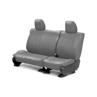 Image may not reflect your exact vehicle! CalTrend® - Rear Leather Light Gray Custom Seat Covers