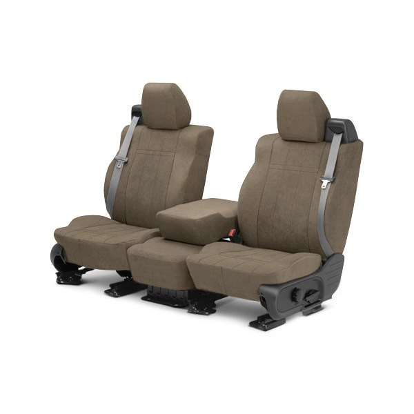 Image may not reflect your exact vehicle! CalTrend® - Front MicroSuede Beige Custom Seat Covers
