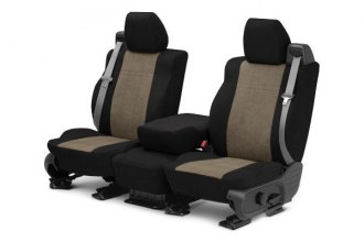 CalTrend® JA100-06SB - Front Row MicroSuede Black with Beige Custom Seat Covers