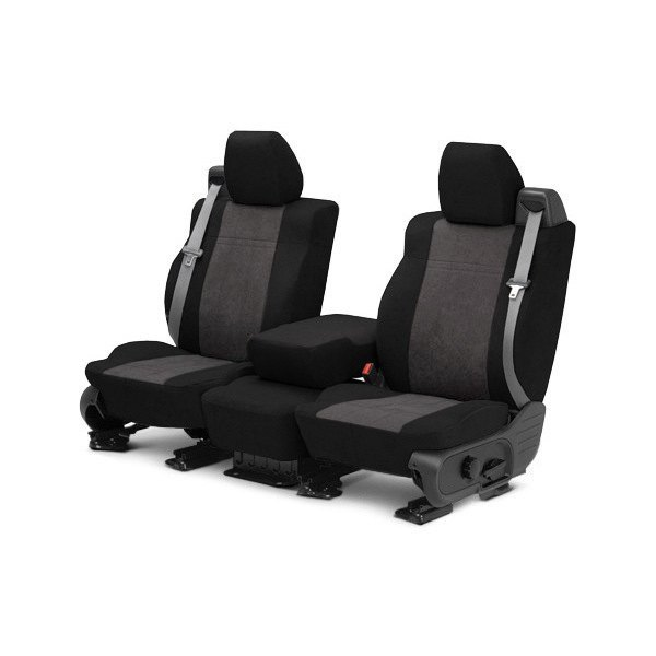 Image may not reflect your exact vehicle! CalTrend® - Front MicroSuede Black with Charcoal Custom Seat Covers