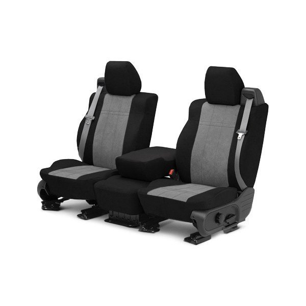 Image may not reflect your exact vehicle! CalTrend® - Front MicroSuede Black with Light Gray Custom Seat Covers