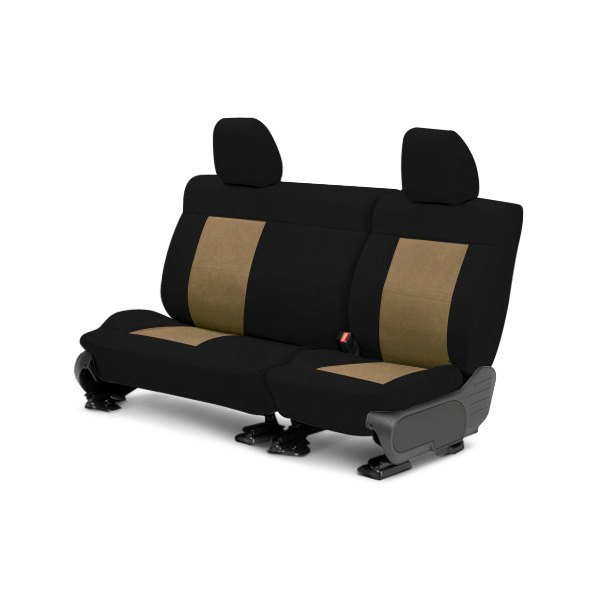 Image may not reflect your exact vehicle! CalTrend® - Center MicroSuede Black with Beige Custom Seat Covers