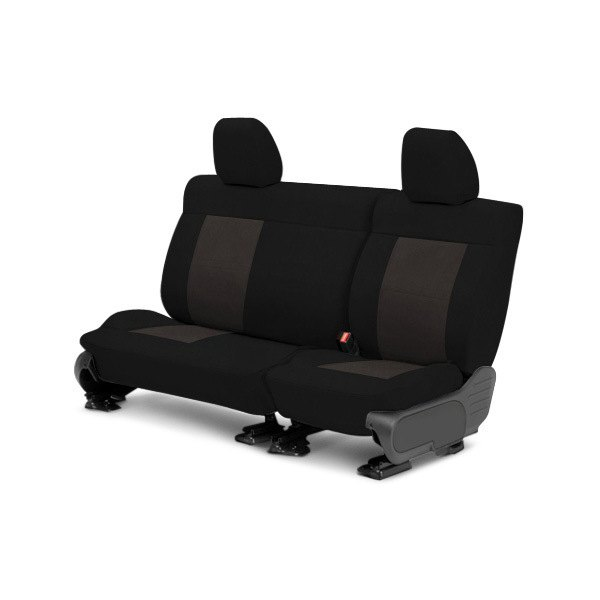Image may not reflect your exact vehicle! CalTrend® - Center MicroSuede Black with Charcoal Custom Seat Covers