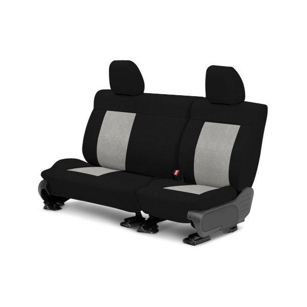 Image may not reflect your exact vehicle! CalTrend® - Center MicroSuede Black with Light Gray Custom Seat Covers