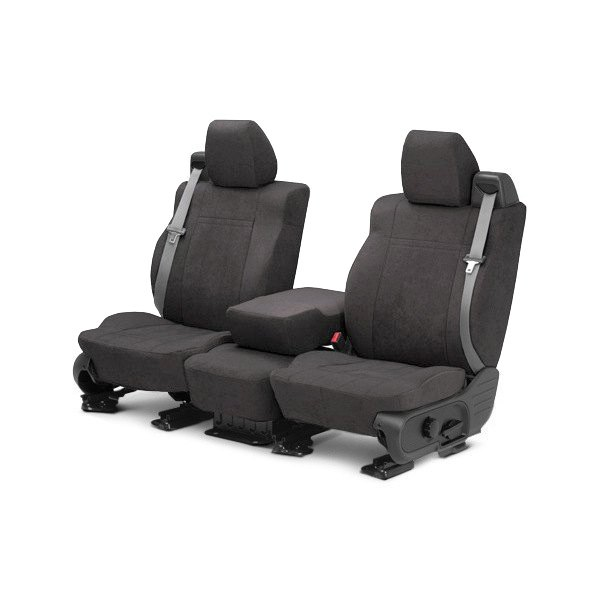 Image may not reflect your exact vehicle! CalTrend® - 1st Row MicroSuede Charcoal Custom Seat Covers