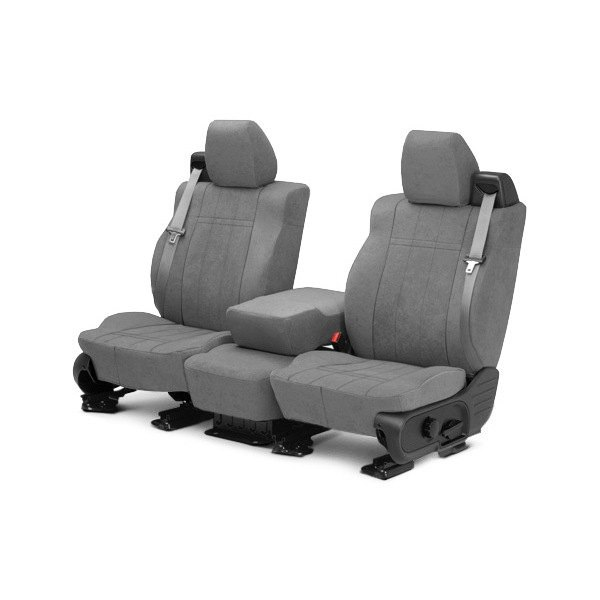 Image may not reflect your exact vehicle! CalTrend® - Front MicroSuede Light Gray Custom Seat Covers