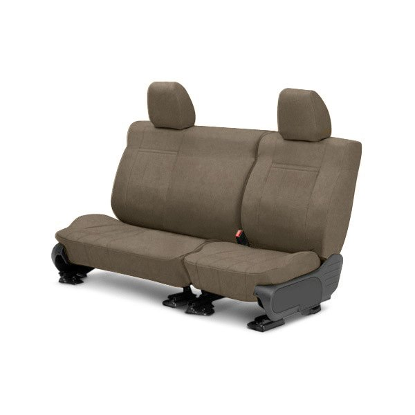 Image may not reflect your exact vehicle! CalTrend® - Rear Row MicroSuede Beige Custom Seat Covers