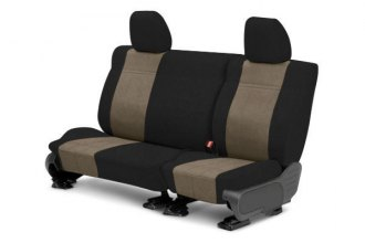 Image may not reflect your exact vehicle! CalTrend® - Rear MicroSuede Black with Beige Custom Seat Covers