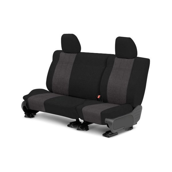 Image may not reflect your exact vehicle! CalTrend® - Rear MicroSuede Black with Charcoal Custom Seat Covers