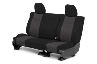 Image may not reflect your exact vehicle! CalTrend® - 3rd Row MicroSuede Black with Charcoal Custom Seat Covers