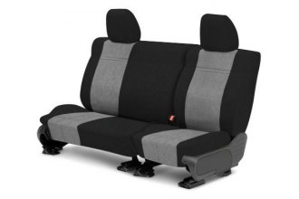 Image may not reflect your exact vehicle! CalTrend® - 3rd Row MicroSuede Black with Light Gray Custom Seat Covers