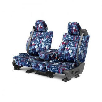 Image may not reflect your exact vehicle! CalTrend® - 1 Row NeoSupreme American Flag Custom Seat Covers