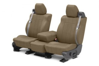 Image may not reflect your exact vehicle! CalTrend® - 1st Row NeoSupreme Beige Custom Seat Covers