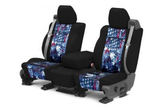 CalTrend® - NeoSupreme 1st Row Black & American Flag Custom Seat Covers