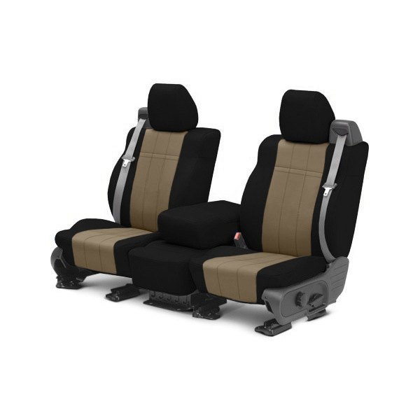 Image may not reflect your exact vehicle! CalTrend® - 1st Row NeoSupreme Black with Beige Custom Seat Covers